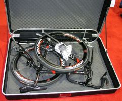 bike laid in open case