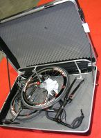 bike laid in open case from side